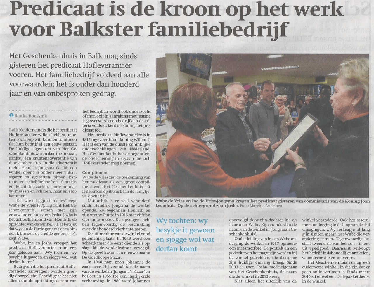 Friesch Dagblad 6 januari 2017