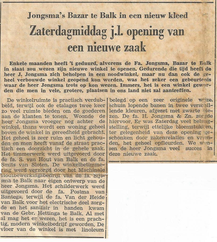 De heropening in 1955 in de krant.