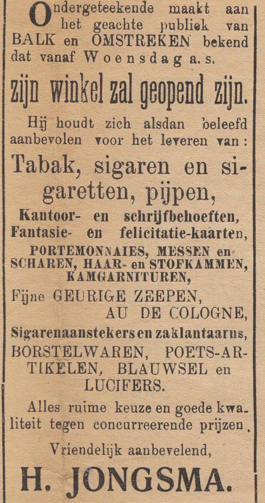 De openingsadvertentie uit de krant van 6 november 2015